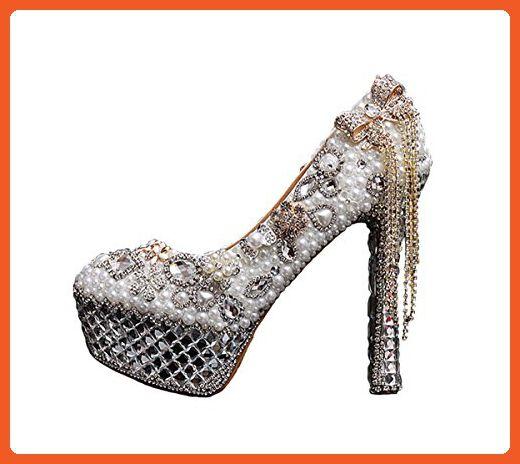 Sistars Women's Pearls Wedding Bridal Heels Bow Party Pumps 10 US Silver - Pumps for women (*Amazon Partner-Link)