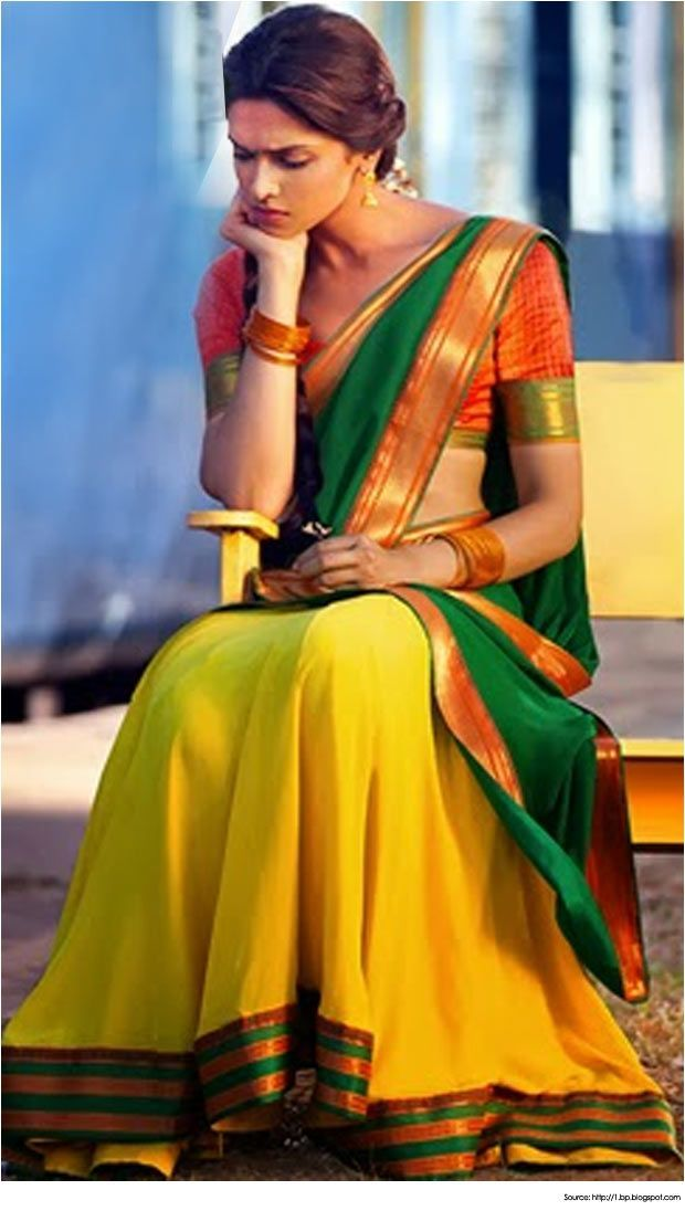 Deepika Padukone in the traditional half sari 'Pavada Davani' of Tamil Nadu as seen in Chennai Express. Bridelan - a personal shopper & stylist for weddings. Website www.bridelan.com #Bridelan