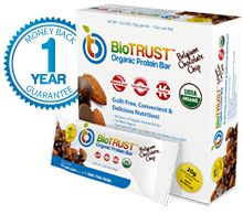 BioTrust  Organic Protein Bars Guilt Free, Convenient & Delicious Nutrition 20 Grams of Organic Protein Certified Organic Free From Wheat, Soy, Trans Fat and Gluten, Non GMO, Rich In Dark Chocolate Antioxidants 14g of Fiber Per Bar  http://dempseysresolution.biotrust.com/Shop.asp?s=&View=Item&Product=2559