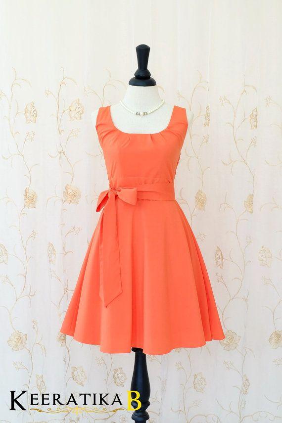 My Lady - Fresh Tangerine Sundress Spring Summer Dress Orange Tea Dress Tangerine Bridesmaid Dress Vintage Design Dress XS-XL