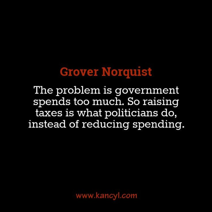 """""""The problem is government spends too much. So raising taxes is what politicians do, instead of reducing spending."""", Grover Norquist"""