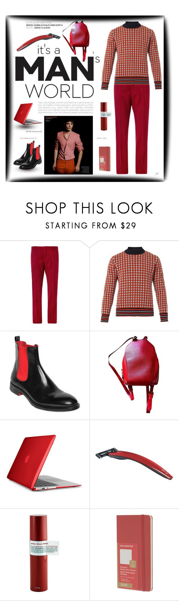 """""""Seeing Red Menswear"""" by alevalepra ❤ liked on Polyvore featuring Jil Sander, Marni, Iceberg, Louis Vuitton, Speck, Bolin Webb, Recipe For Men and Moleskine"""