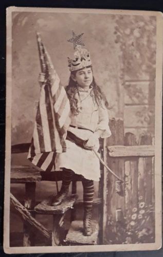 Best-Cabinet-Card-Photo-American-Flag-Patriotic-Girl-Columbia-Costume-Sword-Star