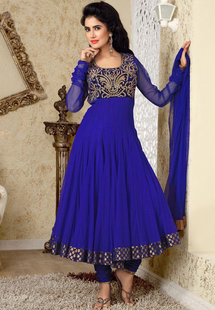 Royal Blue Net Anarkali Churidar Kameez @ $197.92