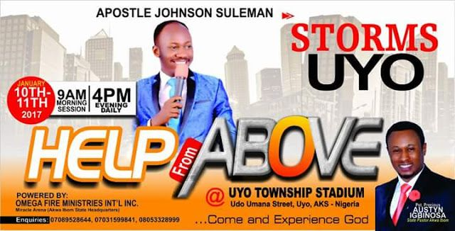 Apostle Johnson Suleiman says Akpabio wont install a successor foresees bloodbath in Akwa Ibom   By Nse Peter  A fierce Christian prophet in Nigeria Apostle Johnson Suleman has reportedly said that Governor Godswill Akpabio of Akwa Ibom State will not be able to install a successor in the state in 2015.  Johnson Suleman the President of Omega Fire Ministries Inc. said this on Monday at Mboho Mkparawa Ibibio Hall Udo Udoma Avenue Uyo while ministering during a programme organised by his…