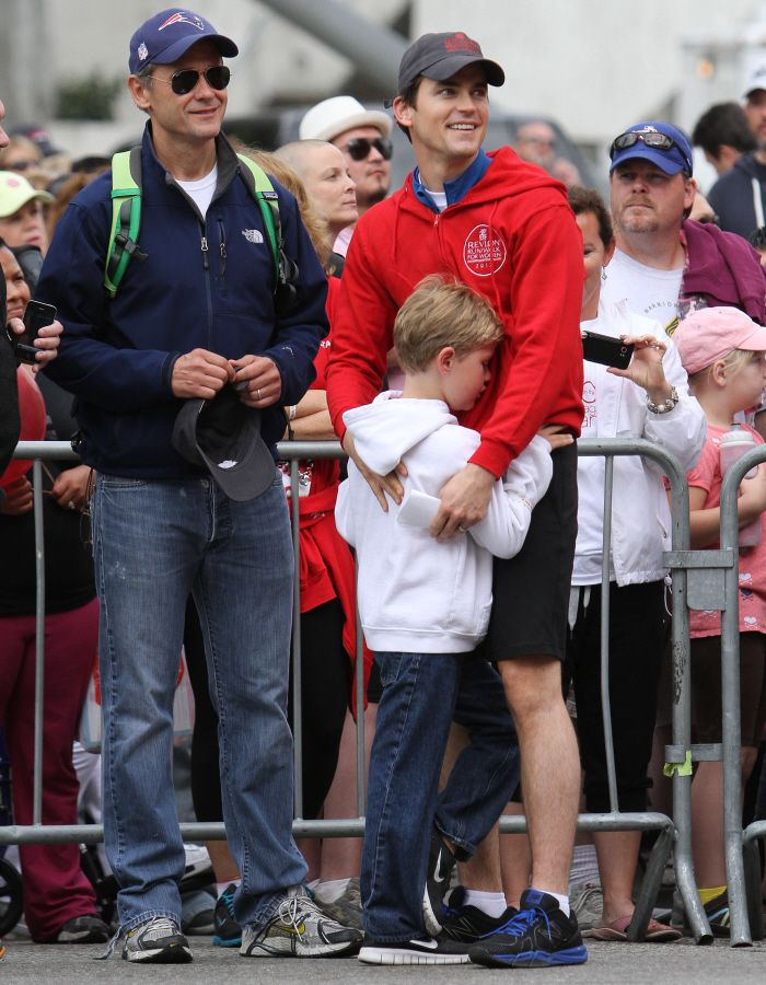 Matt Bomer, his partner Simon Hall & their son Kit support the Revlon Run-Walk