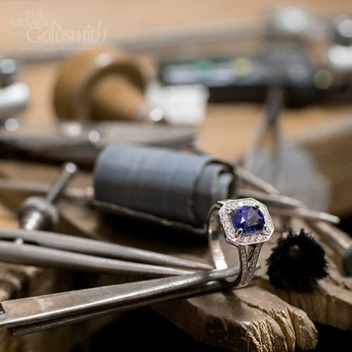So many different tools are used to handcraft a ring. Cutting, measuring, setting, polishing, all done with precision and care. These are just some of the tools used to craft this Sapphire and Diamond ring with a 2.76ct Ceylon cushion cut sapphire surrounded by clusters of diamonds. Have you seen the jewellers in action in our workshop yet?