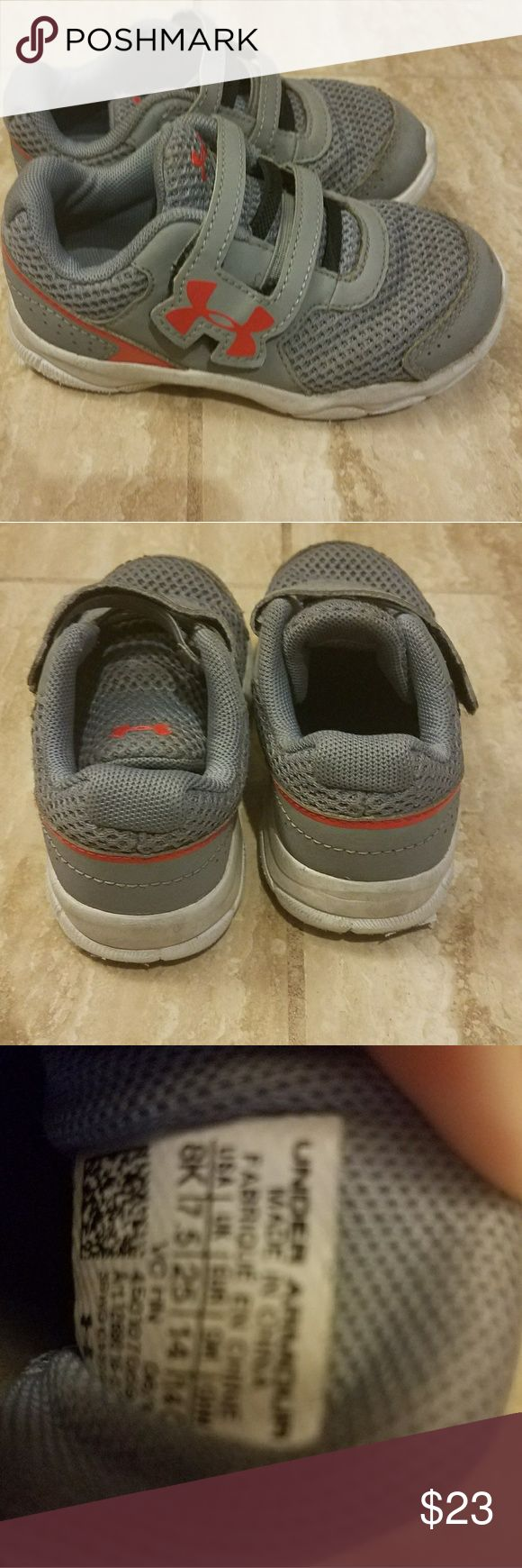 Under Armour Toddler Tennis Shoes Boys toddler shoes size 8. Under Armour.  Used condition.  Gray with red accent.  Velcro closure.  Sneakers. Tennis shoes. Could be unisex, for boys or girls. Under Armour Shoes Sneakers
