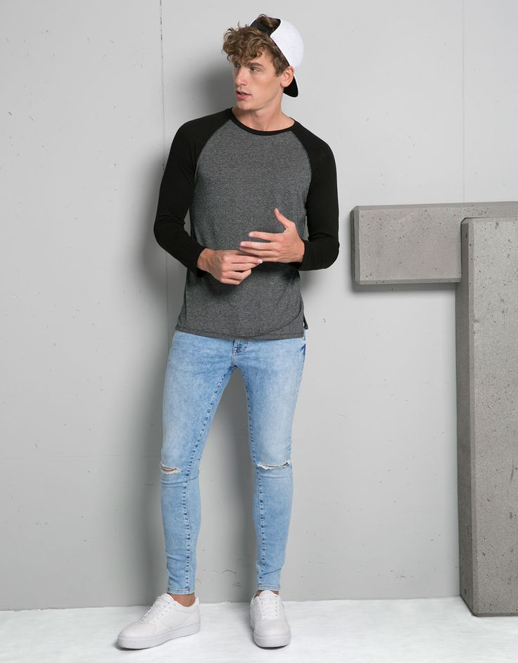 Camiseta básica manga larga ranglan - Camisetas - Bershka España