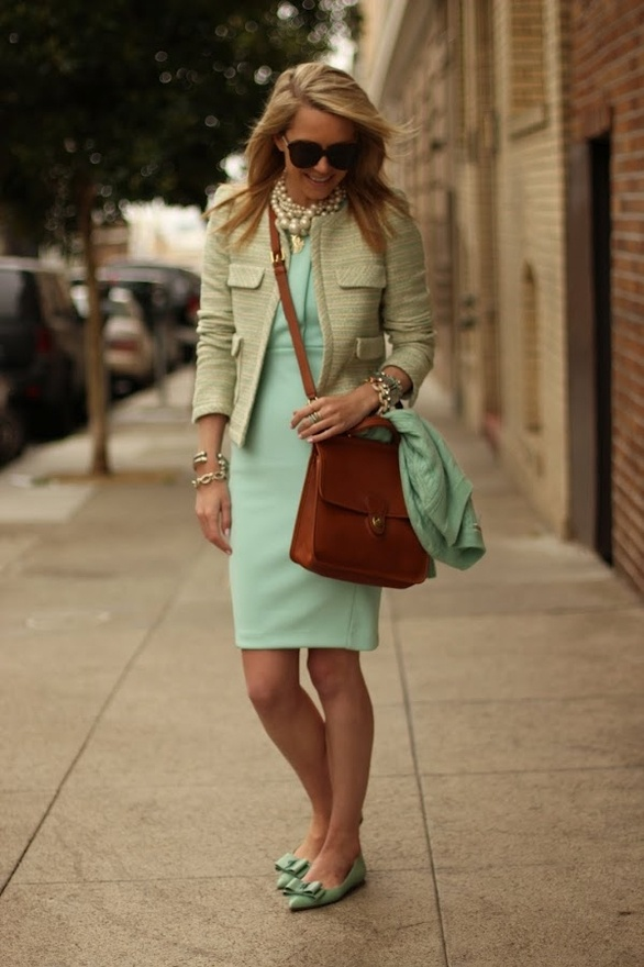 Dress: H (another cute mint number here and here). Shoes: Jcrew. Jacket: Zara. Bag: Coach 'Willis'. Sweater: Jcrew. Necklace: BR (old) and Max Sunglasses: Karen Walker. Jewelry: Blue Ring Coach, David Yurman, Pastel Bracelets American Eagle (old), Jcrew, Michele Watch, XO JewelMint rings (seen here). Nails: Butter London 'Teddy Girl'. stellartiff