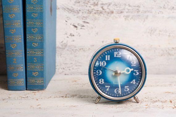 Vintage alarm clock blue Mechanical Clock Vityaz by Grannysbox