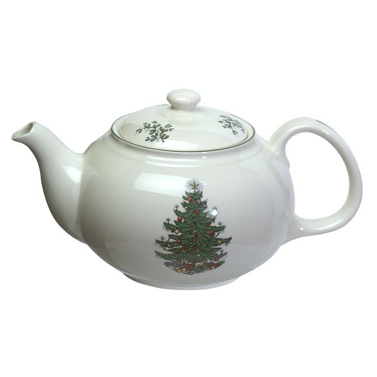 Original Christmas Tree 1.5-qt. Traditional Teapot in White