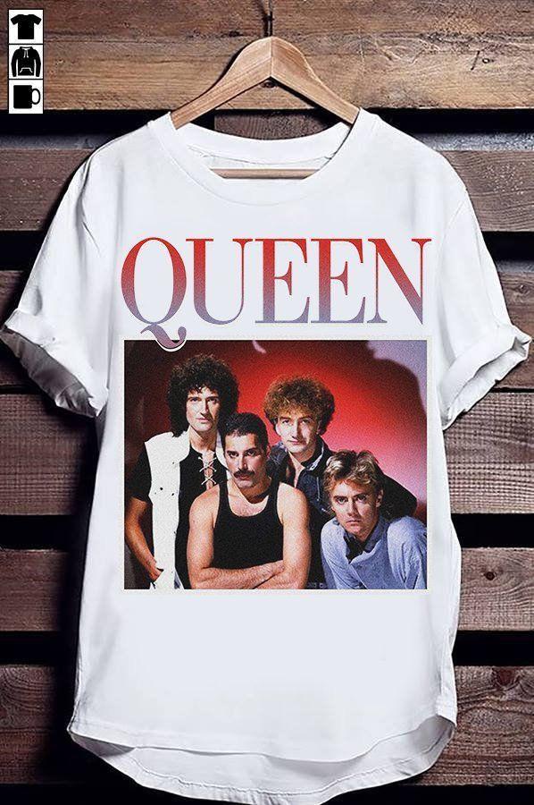 a324352cd42f Queen Band 90s Vintage T Shirt Merchandise Merch Queen Freddie Mercury  White  fashion  clothing