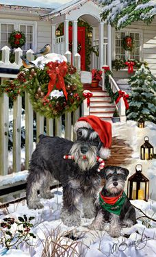 """New for 2015! Black & Silver Miniature Schnauzer Christmas Holiday cards are 8 1/2"""" x 5 1/2"""" and come in packages of 12 cards. One design per package. All designs include envelopes, your personal message, and choice of greeting.Select the inside greeting of your choice from the menu below.Add your custom personal message to the Comments box during checkout."""