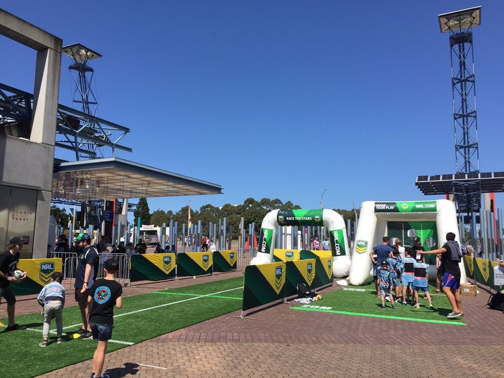 More of the #fanengagement at the outside @ANZStadium @NRL fan zone #NRLGF #fanexperience. Member's lounges, photo ops, skills drills