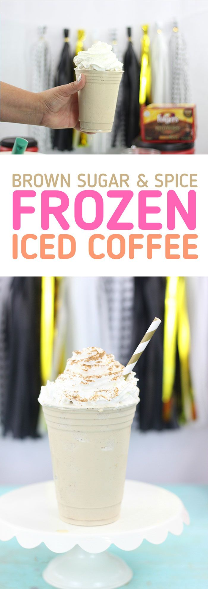 Frozen Iced Coffee with Brown Sugar and Spice. SO good for a refreshing treat. via @dawnchats