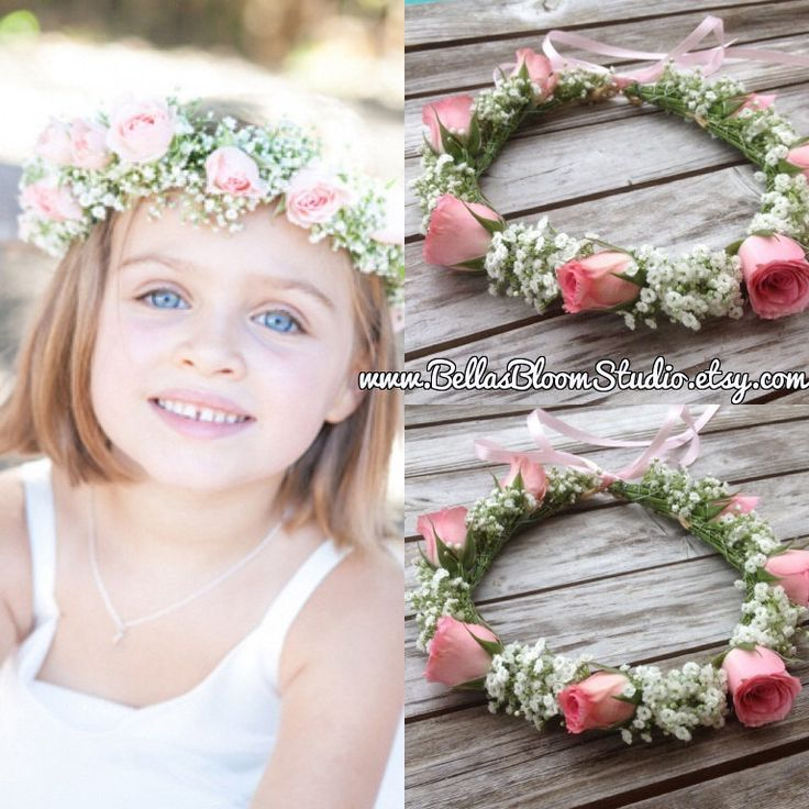 Fresh Flower crowns Flower girl wreath crown Baby Breath Headpiece Baby Breath…