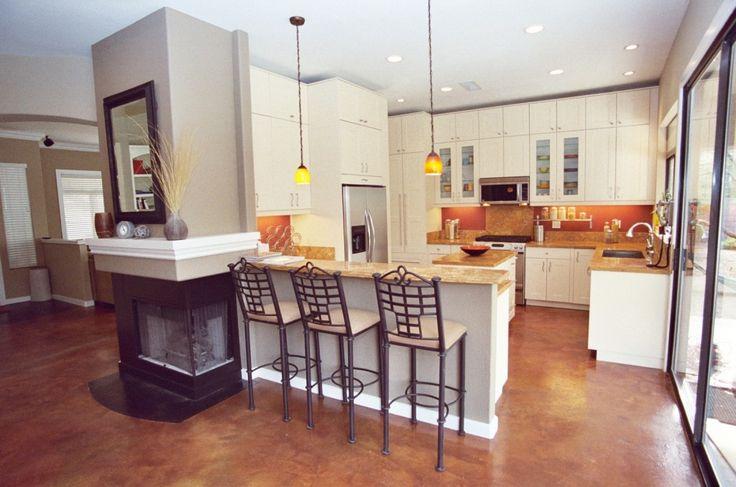 warm dark brown stained concrete floor kitchen island ideas pinterest beautiful warm and. Black Bedroom Furniture Sets. Home Design Ideas