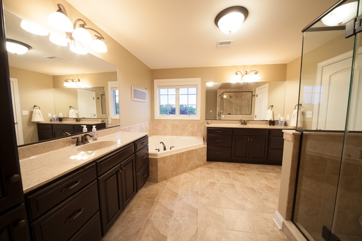 His And Hers Vanities Jacuzzi Soaking Tub And Spacious Walk In Shower Create