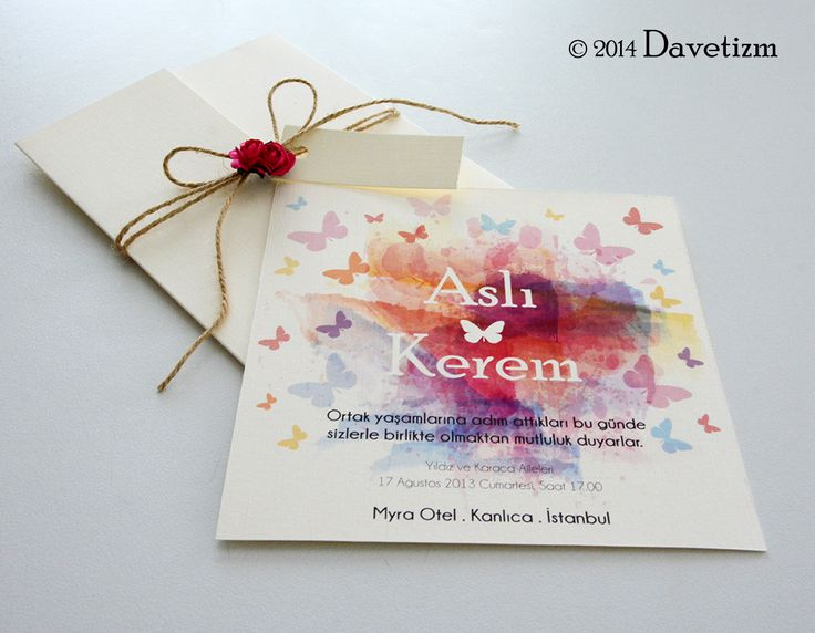 Davetizm, Düğün Davetiyesi, S01, Suluboya, Watercolor, Davetiye Seti, Tasarım, Wedding, Invitation, Design, Romatizm, Kelebek, Butterfly, Güller, Roses, Kağıt Çiçek, Flower, Name Tags, İsimlik