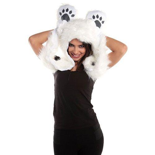 Polar Bear full animal hoodie gift for girls.gift for girlfriend