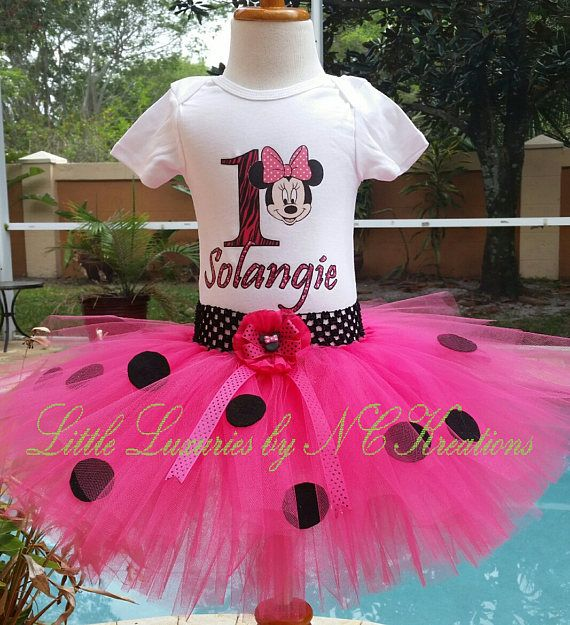 Pink and Black Polka Dot Minnie Birthday Tutu Outfit