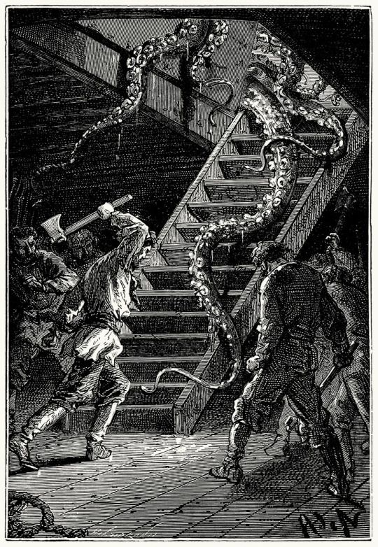 With one blow of the axe, Captain Nemo cut this formidable tentacle, that slid wriggling down the ladder.  Alphonse de Neuville from Vingt mille lieues sous les mers (Twenty thousand leagues under the seas), by Jules Verne, Paris, 1871.