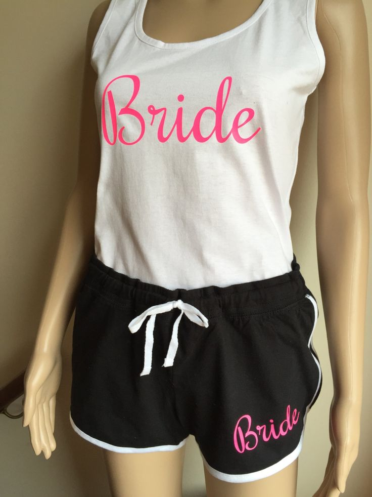 Bride pyjamas , bachelorette  , Bridal Party , Hen Weekend  , PJs set , pyjamas set , black neon pink shorts , tank top , bride vest top by personaliseddiamante on Etsy