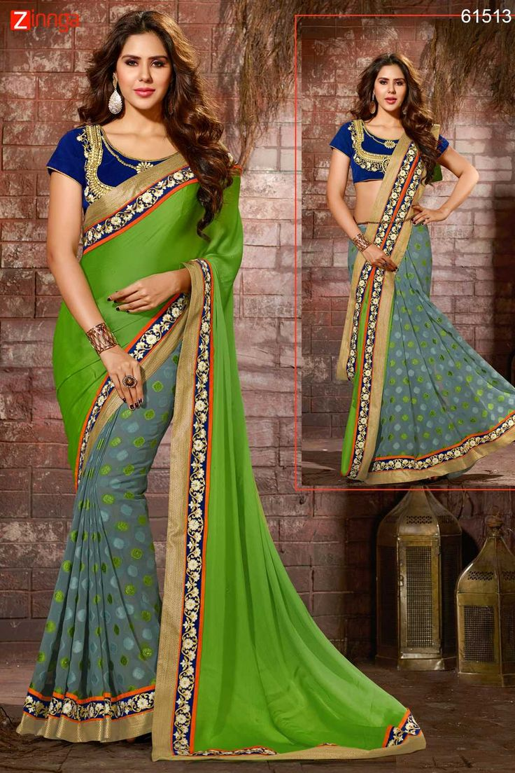 Wonderful Plain Pallu Saree in Parrot Green & Slate Gray Color. Click here for more details www.zinnga.com