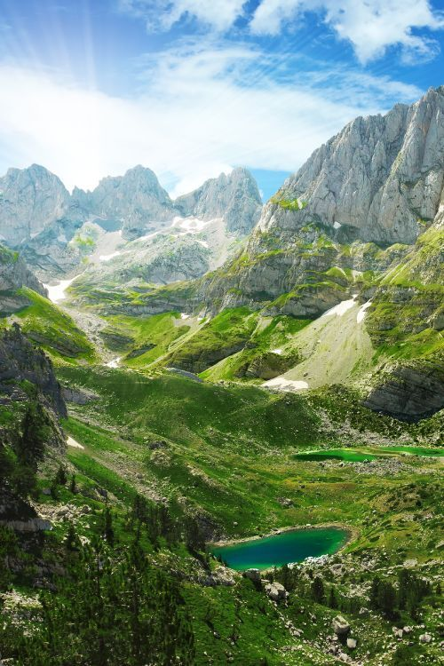 Stretching from Northern Albania to Kosovo and Montenegro, the views in the Albanian Alps easily rival those of their better-known western European counterparts #Albania