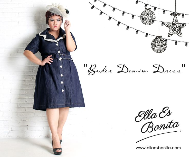 Baker Denim Dress - This vintage denim dress features high quality denim which specially designed for sophisticated curvy women originally made by Indonesian Designer & Local Brand: Ella Es Bonita. Available at www.ellaesbonita.com