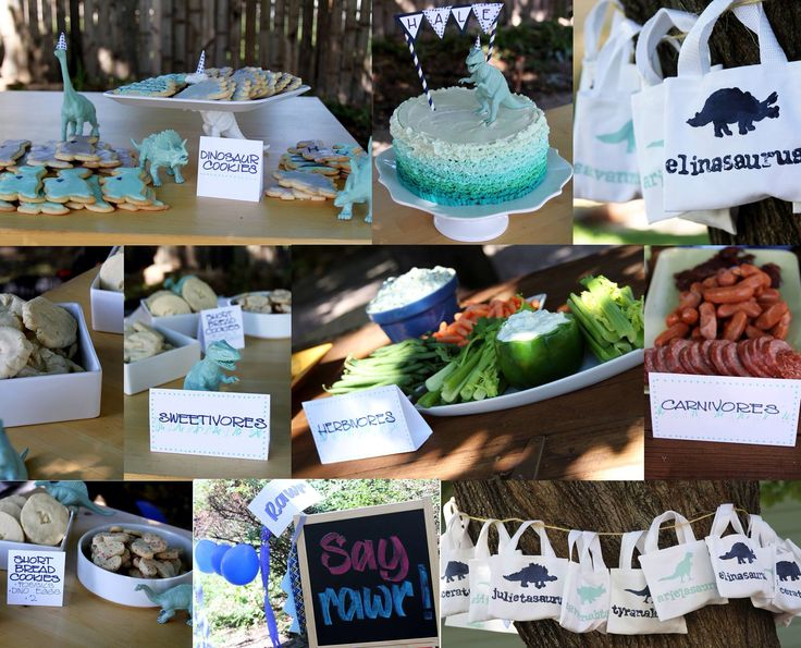 Modern Dinosaur Party: chevron dinosaur cookies, ombré ruffle cake, hand stamped favor bags