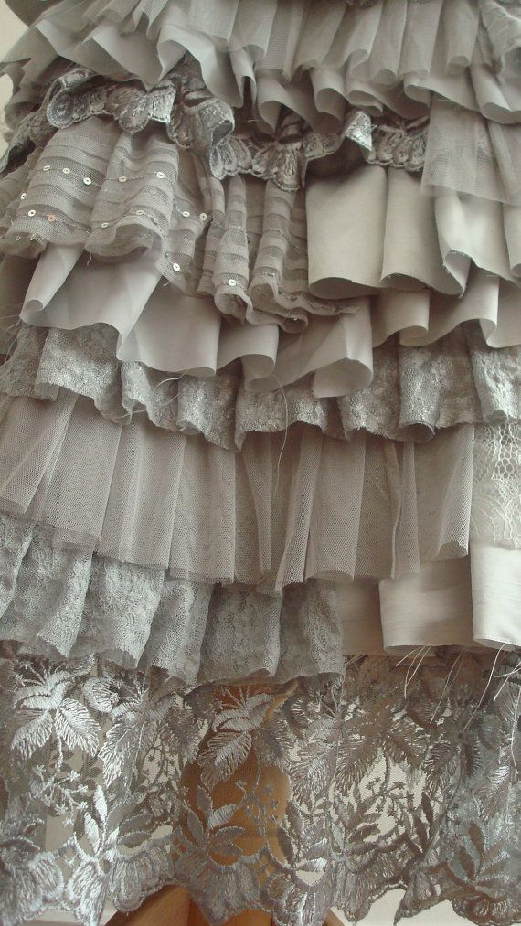 Layered Ruffles Upcycled Skirt Woman's Clothing by BabaYagaFashion