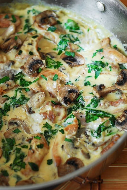 Chicken and Spinach with Creamy Parmesan Mushroom Sauce is your perfect everyday comfort food as well as an easy midweek dinner & a tasty leftover or lunch.