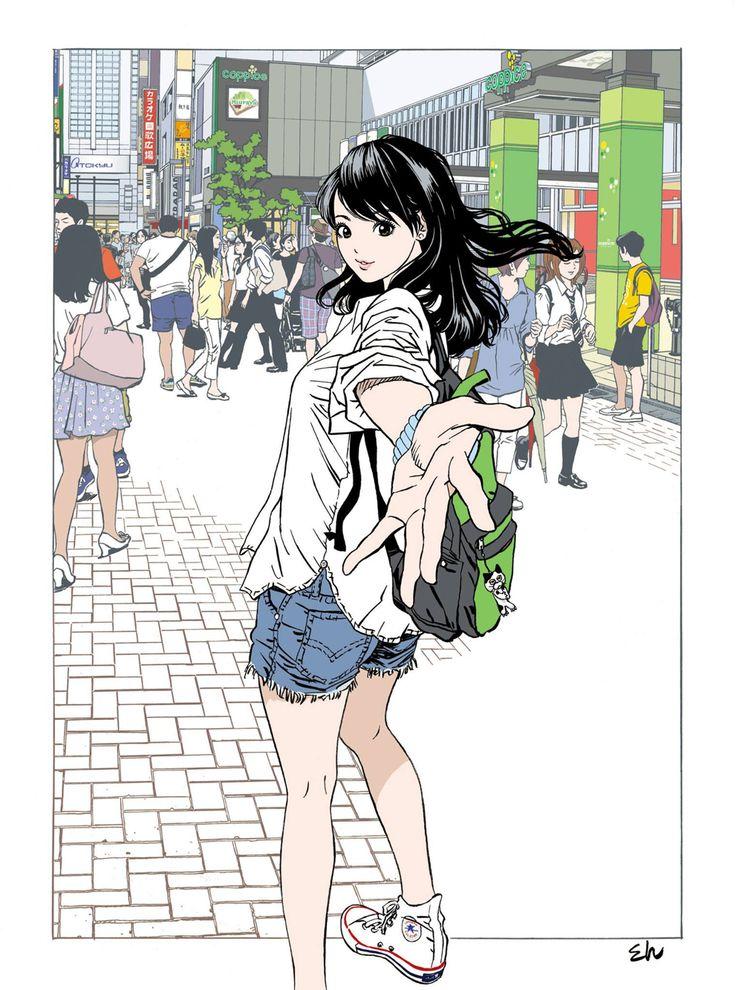 江口寿史 本日より吉祥寺の街のそこここで貼られるであろうポスターの元絵です。ポスターは相当トリミングされてますが、これがその全貌ですよ。よよ。(江口)
