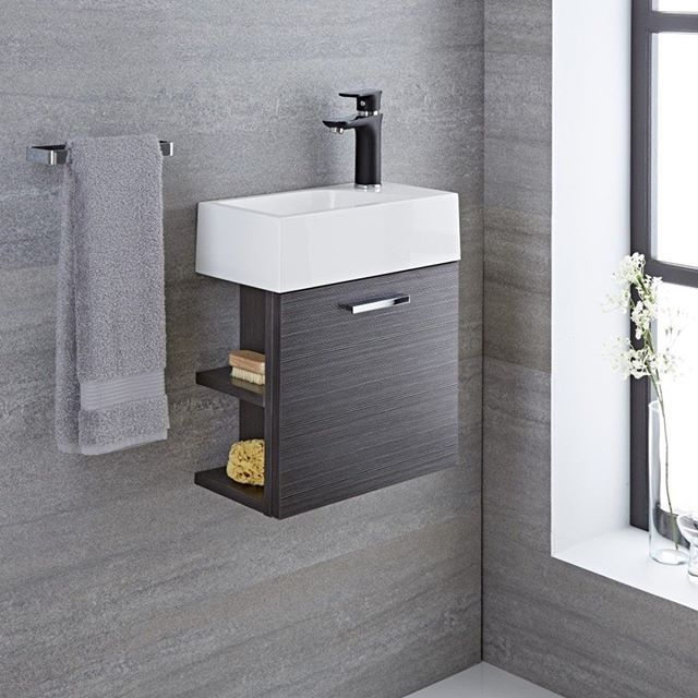 This Compact Langley Wall Mount Bathroom Vanity Will Bring A Designer Edge To Even The Smallest Of Bathroom Cloakroom Vanity Unit Wall Hung Vanity Vanity Units
