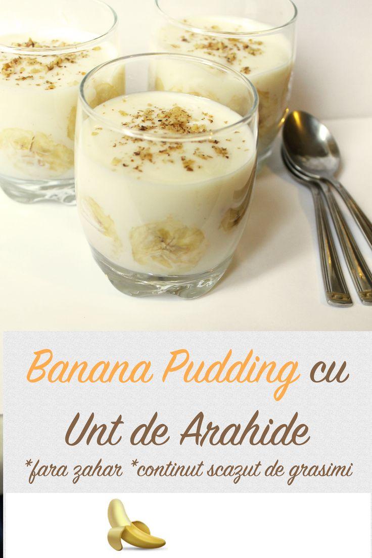 Banana Pudding cu Unt de Arahide (fara zahar, fara oua, continut scazut de grasimi)