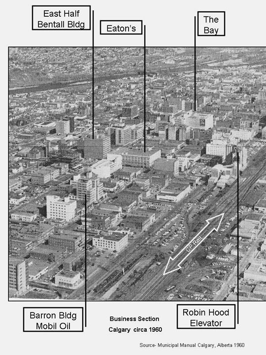Landmark buildings in the downtown business section of Calgary, Alberta, ca. 1960. Adapted by Don Smith in 2014 from a photograph which appeared in the 1960 City of Calgary Municipal Manual. (Glenbow Library)