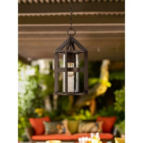 "Argentine 16"" High Clear Seedy Glass Outdoor Hanging Light"
