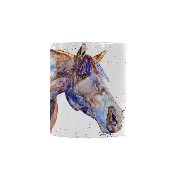Colorful coffee mug gift for horse rider. Recognition presents