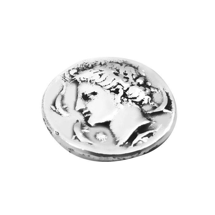 """Handmade replica of the ancient silver decadrachm (ten-drachma coin) of Syracuse, also known as """"Demareteion"""", which is dated around the 4th century B.C. Syracuse was originally a Greek colony founded by Corinth. The coin is offered in an acrylic case for protection and better presentation and gift packaging. Diameter of the coin: 2,5 cm.Dimensions of the case: 5 cm x 6 cm x 5 cm"""