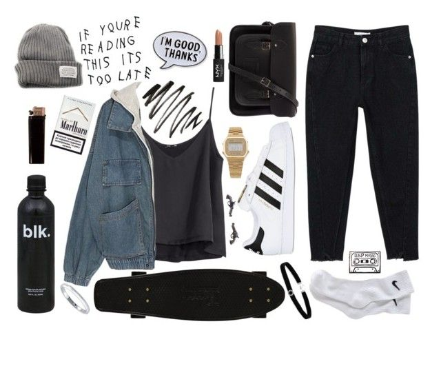 """""""LATE"""" by liemustdie ❤ liked on Polyvore featuring H&M, MANGO, NIKE, adidas Originals, The Cambridge Satchel Company, V AVE SHOE REPAIR, American Apparel, Too Late, NYX and BillyTheTree"""