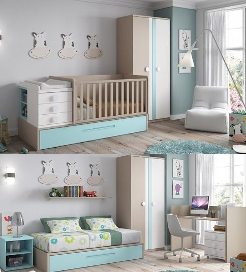 le berceau nino se transforme en chambre complte avec un lit pour enfant x cm with chambre bb unisex. Black Bedroom Furniture Sets. Home Design Ideas