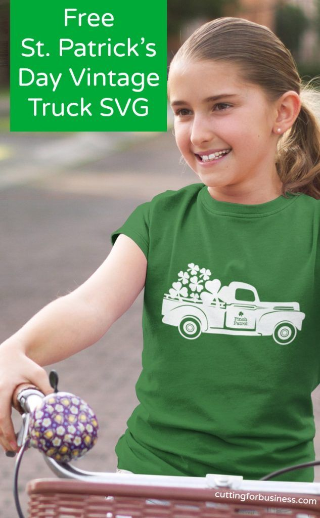 Free Vintage Truck St. Patrick's Day SVG for Silhouette Cameo or Cricut crafters - by cuttingforbusiness.com