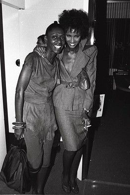 Bethann Hardison and Iman in 1977.
