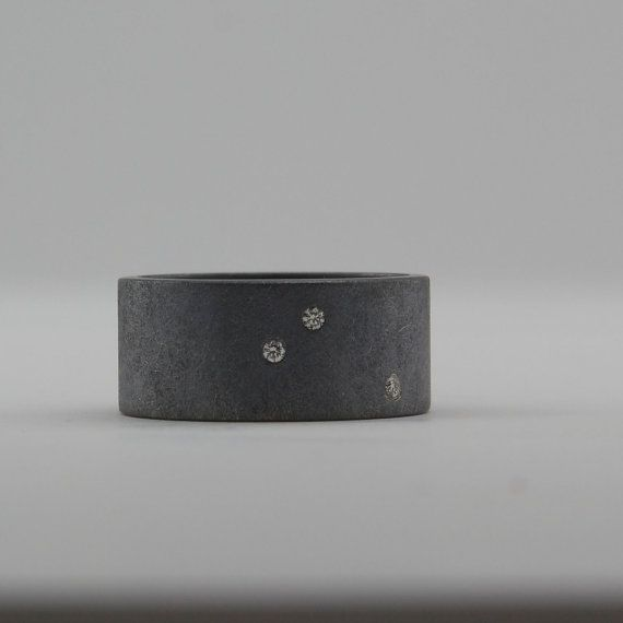 Scattered Diamond Ring Alternative Wedding Band by CocoandChia