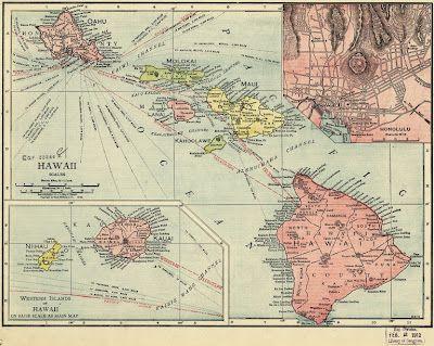 Vintage map of hawaii