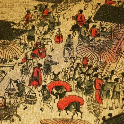 古典中式清明上河图金箔墙纸现代简约电视背景墙客厅酒店娱乐壁纸-淘宝网
