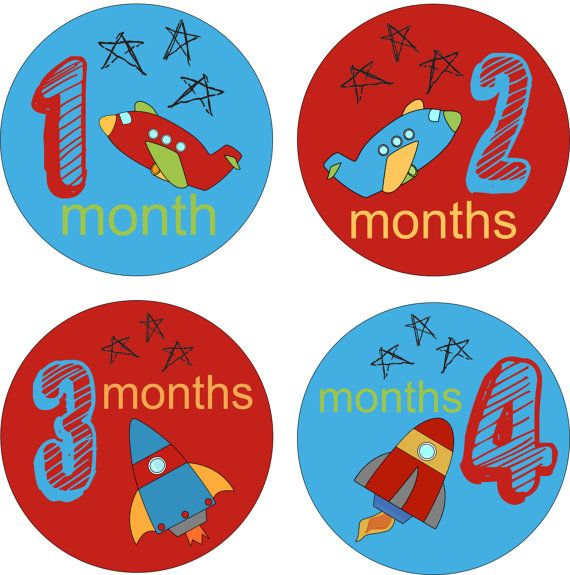 Baby Onsie Month Stickers Baby Monthly Stickers Boy Monthly Shirt Stickers Rocket Baby Shower Gift Photo Prop Baby Milestone Sticker