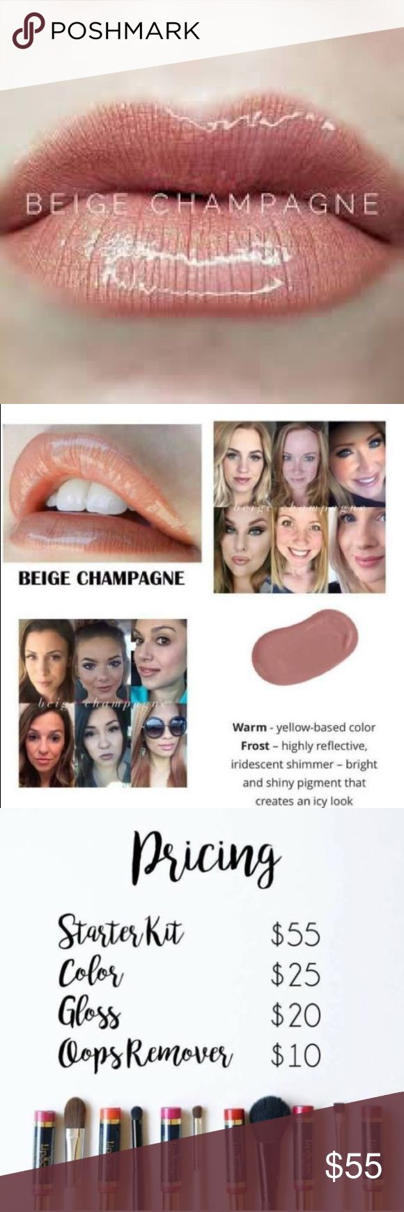 🎉 Lipsense Beige Champagne 💋 Authentic🌟New & Sealed 💋 Wayyy better than lipstick 💄 Lipsense🌟 Beige Champagne color ONLY! 🍾🥂 If already have a set this is perfect for you! Great💰 If new to Lipsense I definitely recommend getting a starter kit;  An amazing Lipsense starter kit includes color, gloss and remover! Ex: Beige Champagne+Glossy+Oops  I have Gloss, Oops & starter kit in separate listing!💋 Lipsense Makeup Lipstick
